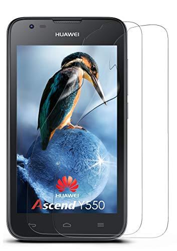 moex 2X Huawei Y550 | Schutzfolie Klar Bildschirm Schutz [Crystal-Clear] Screen Protector Display Handy-Folie Dünn Bildschirmschutz-Folie für Huawei Ascend Y550 Bildschirmfolie