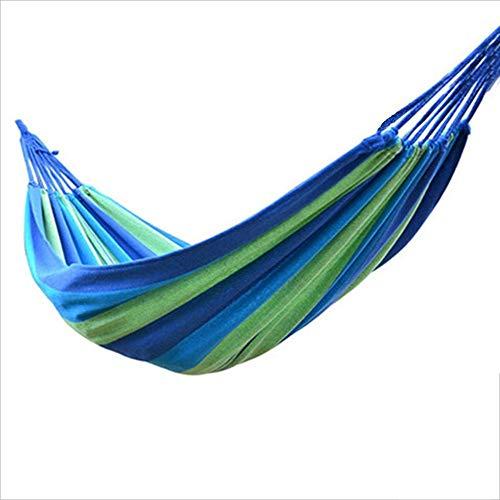 L.TSA Extra große brasilianische Maya-Hängematte - tragbare Einzel- oder Doppelhängematte - handgefertigt aus 100{7c3496b5e3407e03e3db73cad6a2e4a9a4b4520035830b06139b7feedc0698c7} weicher Baumwolle (Tropical Multicolor) (Farbe: Blau)