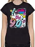 Statement Shirts - I Love The 90s bunt - M - Schwarz - L191 - Tailliertes Tshirt für Damen und Frauen T-Shirt