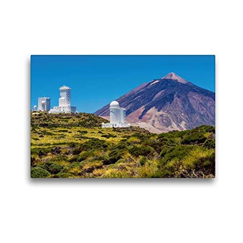 Calvendo Premium Textil-Leinwand 45 cm x 30 cm quer, Observatorium und Vulkan auf Teneriffa | Wandbild, Bild auf Keilrahmen, Fertigbild auf echter Leinwand. Vulkan Teide auf Teneriffa Orte Orte (Home-observatorium)