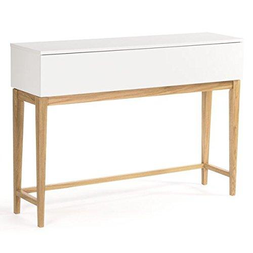 La Console design BLANCO, pieds et structure en chêne massif, bois peint blanc mat- éco, déco et design - 120 x 32 x 85 cm (Longueur x profondeur x hauteur)