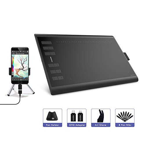 HUION Inspiroy H1060P Grafiktablett, Grafiktablett mit 12 Berührungstasten und 16 Funktionstasten, 8192 Ebenen, batterieloser Stift, Neigefunktion, Kompatibel mit Windows, Mac OS und Android-Geräten