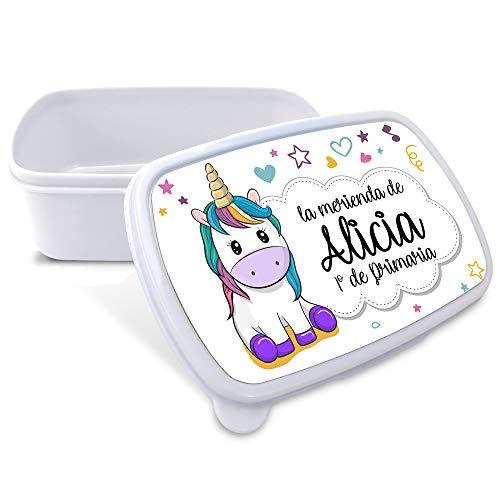 Caja Merienda Unicornio Vuelta al Cole Personalizada con Nombre/Curso   Varios Diseños y Colores a Elegir