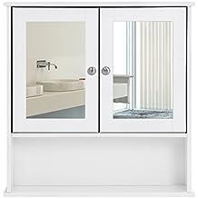 Songmics Armoire de toilettes Salle de bains Blanche murale avec portes et miroirs LHC002