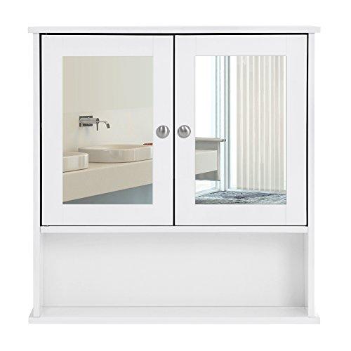 SONGMICS Armario para Baño Organizador con 2 Puertas y Espejo 56 x 13 x 58 cm Blanco LHC002
