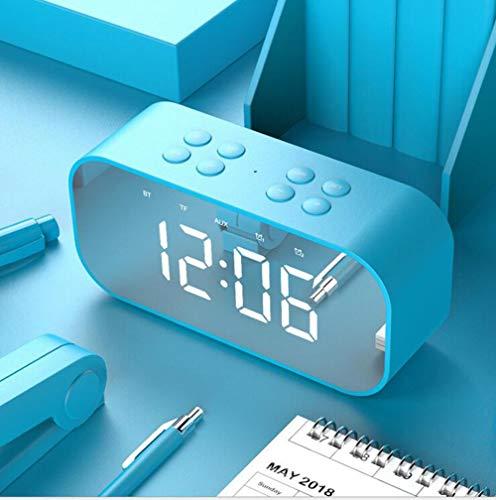 FENGFENGGUO Bluetooth-Sprecher, intelligenter geführter Wecker-drahtloser Minispiegel mit Schirm-Uhr-Sendungs-kleinem Sprecher,Blue - Zyklus-sound-lautsprecher