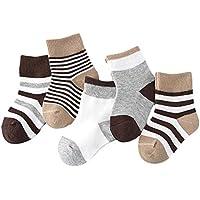 Lymocha 5 Pares Espesar Calcetines de Algodón Animal para Niños, Calcetines Infantiles y Bbebé de Otoño e Invierno Size L para 4-6 (café)