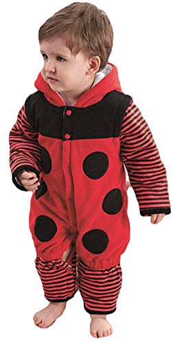 Fancy Me Baby Mädchen Junge Marienkäfer Mini Biest Tier Velour Einteiler Verkleidung Kostüm Kleidung 9 Monate - 3 Jahre - Rot, 2-3 Years (95-100cms)