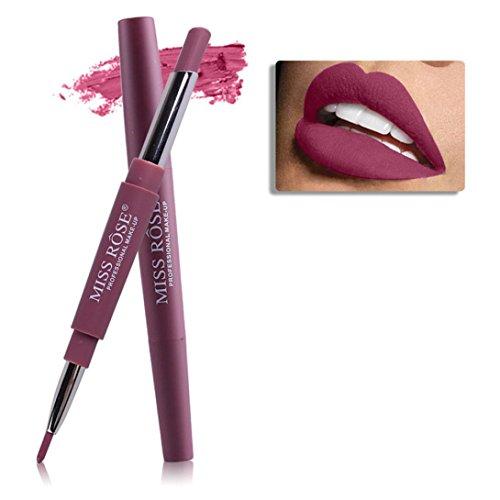 Honestyi Rouge à lèvres, 8 Couleurs Double-Fin Ligneur Durable Crayon à lèvres imperméable à l'eau Brillant à lèvres Multi-Fonctions (Rouge # 2)