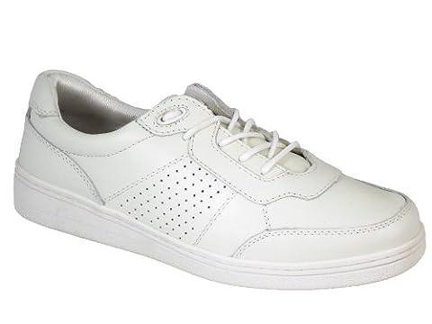 Pelham Pebble Superb Quality Ladies Leather Lawn Bowls shoes White UK Size 5