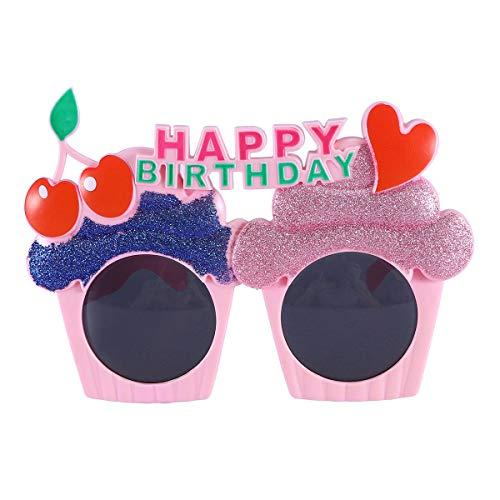NUOBESTY Spaßbrille Happy Birthday Brillen Kuchen Brille mit Kirsche Eiscreme Brille Geburtstag Sonnenbrille Party Deko Brille für Kinder Erwachsene Party Kostüm Zubehör
