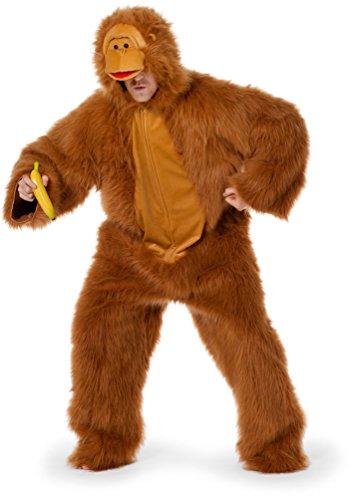 Karneval Klamotten Affe Kostüm Herren Plüsch-Kostüm Affen-Kostüm braun Luxus Erwachsene Herren-Kostüm Größe 58