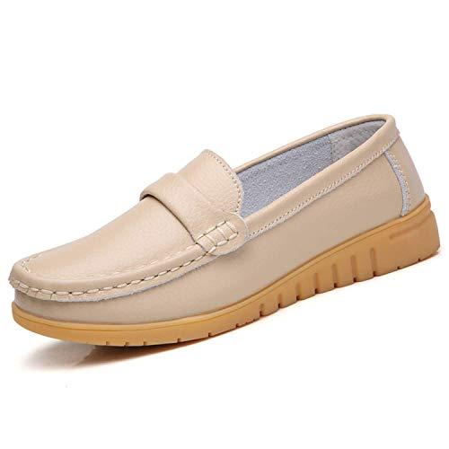 GAXmi Mocasines de Cuero Mujer Loafers Zapato Plano Verano Primavera Otoño Beige Tamaño 36/230, 36...