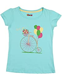 Tickles Green Printed Top For Girls