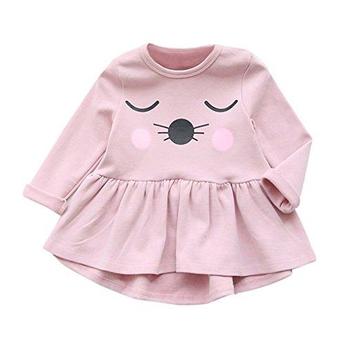 Babykleidung❀❀ JYJMKleinkind Kinder Baby Mädchen Baumwolle Kleidung Langarm Katze Druck Kleid Casual Tops (Größe: 4 / 5Jahr, Rosa) (Industrie-kurzarm-baumwolle)