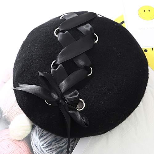 WSDMY Hut Mütze Neu Süß Süß Baskenmützen Damen Wintermützen Weich Macaron Farbband Lolita Baskenmütze Klassisch Soft Straps Armbrustschwarz