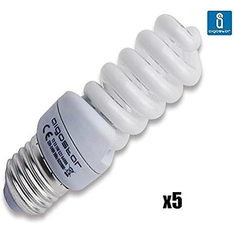 Pack de 5 Bombillas T2, 11W, forma espiral, casquillo gordo E27, 450 lumen, luz calida 2700K