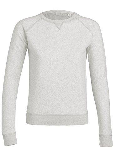 Sweat Blanc Crème Chiné Coton Bio Éthique - Femme blanc-chiné