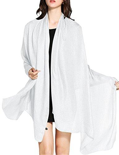 WedTrend Hochwertig Schlicht Flachs Stola Schal für Kleider in verschiedenen Farben WTC30002 White 190 * 100cm