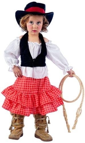 öße 3 - Cowgirl 4-teilig (Hemd-Kleid-Hut-Mieder) (3 Teiliges Cowgirl Kostüme)