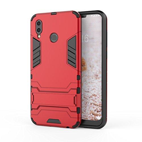 KaiTelin Huawei Honor Play Hülle - Dual Layer Combo Fall Stoßfest Drop Resistance Schutz Tasche Handy Hülle mit Ständer für Huawei Honor Play - Rot