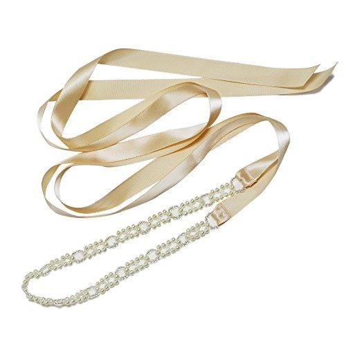 TOPQUEEN da donna Pearl abiti da matrimonio vestito da sposa con perla sash Champagne Taglia unica