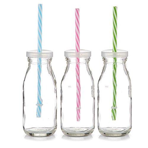 6x ZELLER GLAS FLASCHE 250ml Countrystyle mit STROHHALM und Deckel TRINKFLASCHE DEKO VASE Flasche Gläser