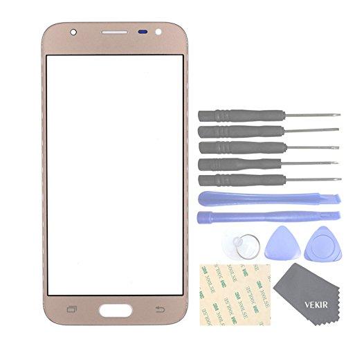 VEKIR Handys Ersatzteile für Samsung Galaxy J3 (2017) J3 Pro (2017) J330F J330G Äußere Glascheibe[No LCD,No Touch](Golden)