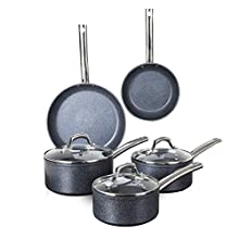 Tower TruStone Pot and Pan Set, Non Stick and Easy to Clean, 5 Piece, Violet Black