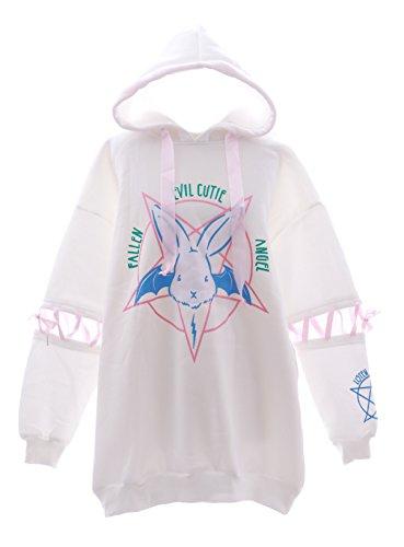 TS-38-2 Evil Cute Bunny Angel Hase Rabbit weiß Oversize-Look Kapuzen Sweatshirt Pullover Pastel Goth Lolita Harajuku Japan