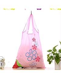 Designeez Large Strawberry Eco Shopping Travel Tote Bag Folding Reusable Grocery Nylon Bag (Pink)