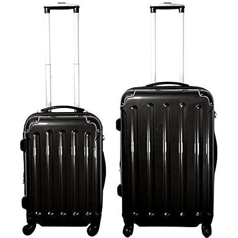 Set valigie 2-pezzi 65 + 55 cm, 4 Rotoli, Pieghe, colore: nero, Trolley - Set - 360 Pezzi Set
