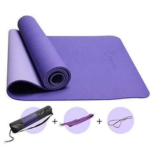 FrenzyBird 1/4-Zoll Dicke Yoga-Matte Trainingsmatte mit Ausrichtungslinien Tragegurt, PVC-frei, ideal für Anfänger und Fortgeschrittene Yogis