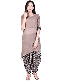 Pink Lemon Assymetrical Top with Printed Cotton/Georgette Dhoti Pants (combo of 2)