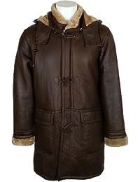 UNICORN Hommes Réel en cuir à capuche Veste Peau De Mouton Duffle Manteau Brun avec fourrure gingembre #CB