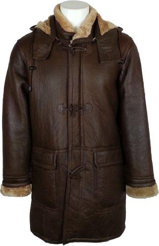 UNICORN Männer Echte Leder Jacke mit Kapuze Schaffell Dufflecoat - Echtepelz Mantel - Braun und Ingwer# CB Größe 48