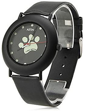 fenkoo Frauen der Hund Pfoten Stil PU Analog Quarz-Armbanduhr