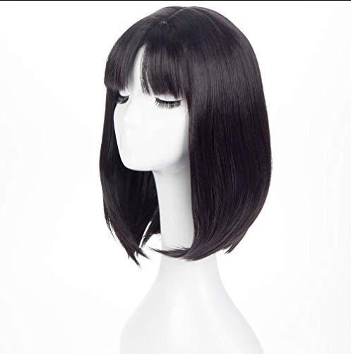 Cos Perücke schwarze Traube lila Dame kurze Haare (Lila Kostüm Trauben)