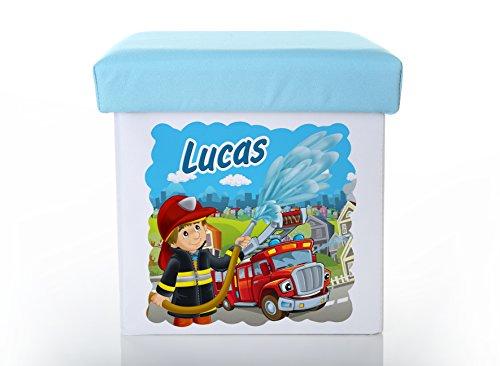 Werbetreff Gera Kinderhocker, Kinderstuhl Feuerwehr, Feuerwehrmann individuell mit Name, blau,...