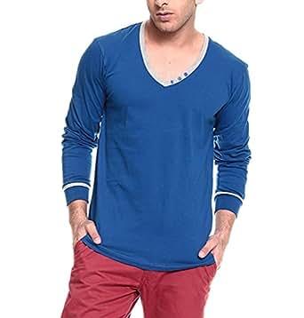 Izinc Men's V-Neck Full Sleeve Cotton T-Shirt [808_ROYALBLUE_Small]