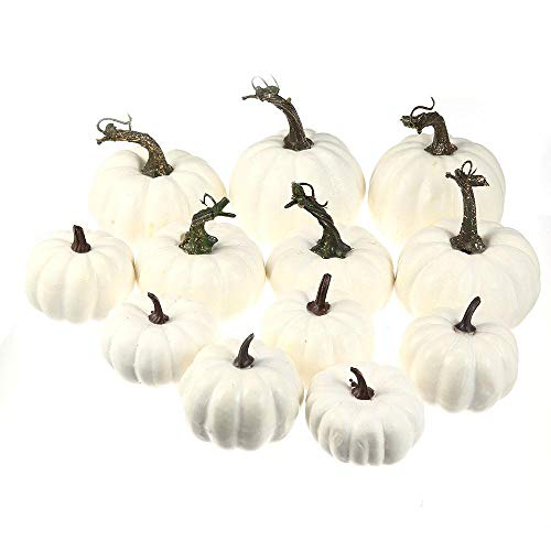 Halloween Schaum - Volwco 12 Stück Weiße Künstliche Kürbisse