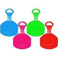 com-four® 4X Schneeflitzer, Schneerutscher Schlitten mit Griff, Porutscher in Verschiedenen Farben (4 Stück - Kid)