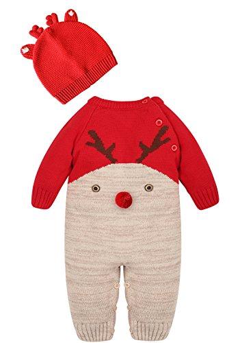 Zoerea Neugeborenes Baby Mädchen Junge Strick Strampler Watte Weihnachten warme Pullover mit Hut Elch Hirsche Clown Muster für die Saison Frühling, Herbst und Winter (Rot,14-22Monate) -