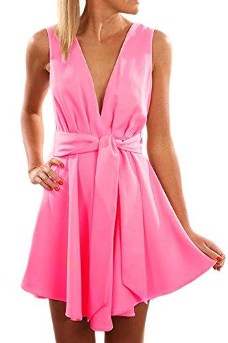 Tiefer V-Ausschnitt Swing Party Kleid für Damen Red