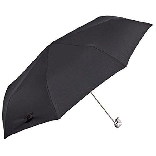 Jean Paul Gaultier Luxus Designer Regenschirm mit sehr auffälligem Griff in Form eines Schädels, Schwarz