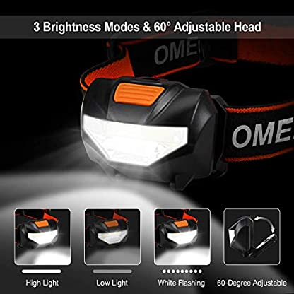 OMERIL LED Head Torch, Lightweight COB Headlamp with 3 Modes, IPX4 Waterproof, Super Bright 150 Lumens LED Headlight for Kids&Adults, Running, Fishing, Camping, Hiking, DIY[3*AAA Batteries Included] 3