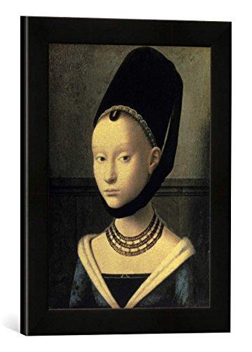 Gerahmtes Bild von Petrus Christus Bildnis einer jungen Frau, Kunstdruck im hochwertigen handgefertigten Bilder-Rahmen, 30x40 cm, Schwarz matt