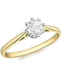 Aglaia (Gattung) 18ct Gelb Gold 0,50ct Diamant Solitaire Ring