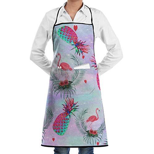Xukmefat Flamingo and Pineapple Hawaii Plant Professional Bib Apron with 2 Pockets for Women Men Adults Waterproof