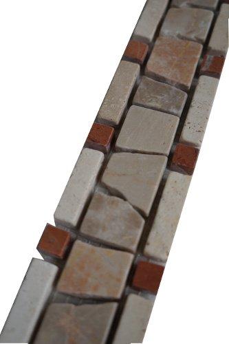 Bruchstein Mosaik Bordüre 5x30 cm Naturstein Rot/Creme Rosso 8 mm Fliesen B500